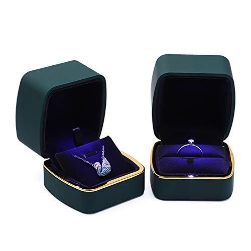 Kudiro Caja de 2 anillos para collar, caja cuadrada con luces LED, caja de joyería es perfecta para propuestas, compromiso o regalo de boda (verde)