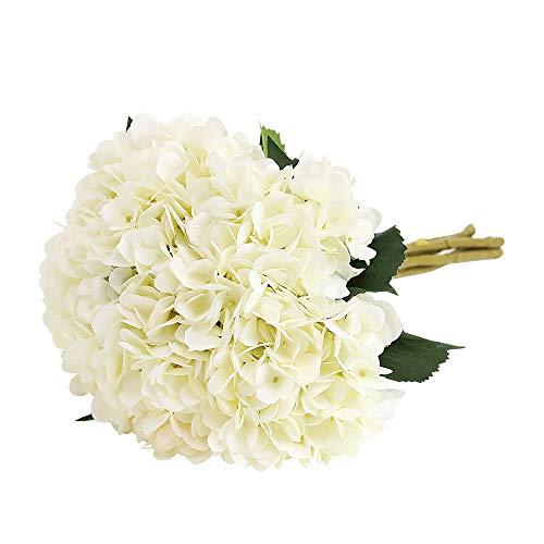 Tifuly künstliche Hortensie-Blume, 5 PCS realistische einzelne Lange Stamm-Silk Hydrangea-Blumensträuße für Hochzeit, Haus, Hotel, Parteidekoration, Blumengesteck(Weiß)