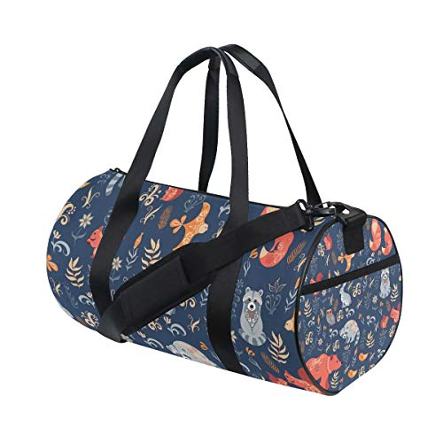 AJINGA Forest Animals Travel Duffle Bag Sports Luggage with Backpack Straps for Gym