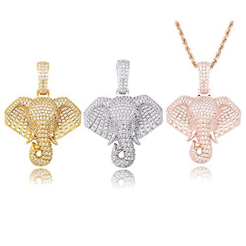 OONYGB Collar Hiphop, collar con colgante de elefante, chapado en oro de 18 quilates con diamantes de imitación de circonita cúbica para hombre y mujer (color dorado, plata, oro rosa)