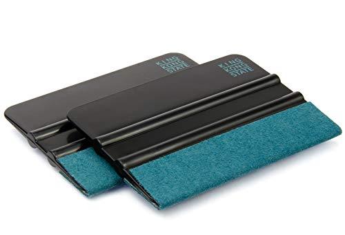 Kunststoff-Rakel 2er Pack von KING KONG STATE ® - hochwertige Folienrakel mit Alcantara-Überzug 10 x 7,3 cm