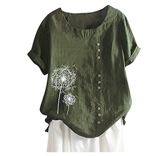 Camisa Mujer Verano Cómoda Estampado De Diente De León Cuello Redondo Botones Exquisitos Puños Enrollados Mujer Manga Corta Transpirable Uso Diario Mujer Blusa E-Green L