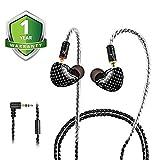 Auriculares intraurales, auriculares con cable, auriculares intraurales, audífonos duales para conductores con cables MMCX desmontables y reemplazables, aislamiento de ruido, a prueba de sudor