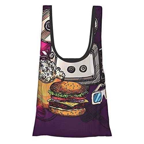 Decoración moderna de dibujos animados como cine película imagen hamburguesas palomitas de maíz gafas arte impresión ciruela jengibre Dimgrey reutilizable plegable ecológico bolsas de compras