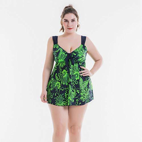Mujer Tirantes Traje de Baño de Una Pieza,Traje de baño de Talla Grande, Falda Dividida Sexy impresa-5201 Verde Esmeralda_XL