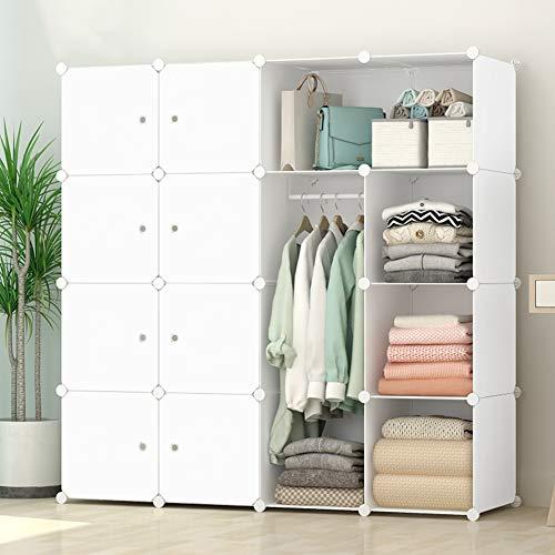 Coldshine 16-Cube Modular Storage Organizer Portable Wardrobe Closet Combination Bedroom Wardrobes Armoire Clothes Cabinet Kids Furniture Space Saving Armoire DIY (White)
