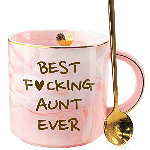SUUURA-OO Funny Aunt Mug Gift Whit A Gold Spoon, Awesome Aunt Mugs from Niece or Nephew, Aunticorn Gift for Birthday, Mothers Day, Bae, Best Aunt Ever, Pink Marble Ceramic Coffee Cup 12oz
