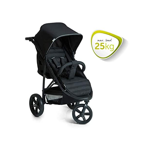 Hauck Rapid 3 Wheel Pushchair up to 25 kg with Lying Position from Birth, Small Foldable with One Hand, Height Adjustable Push Handle, Large Basket - Black Hauck LONG USE: The pushchair is suitable from birth (in lying position or in combination with the separate 2-in-1 Carrycot) and loadable up to 25 kg (seat unit 22 kg + basket 3 kg) EASY TO FOLD: This stroller folds away compactly and can be then carried with one hand only by the release loop COMFORTABLE: For the kid thanks to backrest and footrest adjustable into flat position, as well as for parents thanks to height-adjustable handle and large shopping basket 4