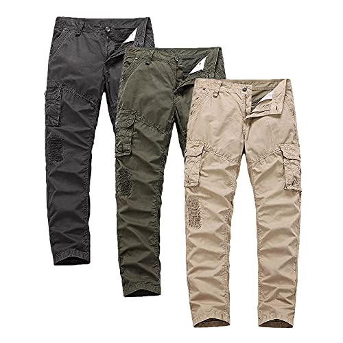 Pantalones cargo para hombre, de verano, informales, de algodón, cómodos, para exteriores, elásticos, de corte recto, con botones, con bolsillos, hip-hop, para uso urbano, gris, 38