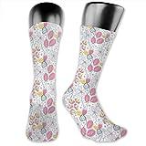 Compression Medium Calf Socks,Soft Toned Flower Bush Foliage Spring Blooms Natural Beauty Essence Pattern On White