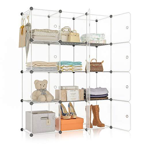 YOZO Portable Cube Storage Modular Wardrobe Clothes Closet Bedroom Storage Shelves Cube Organizer Polyresin Bookshelf Units Multifunction Dresser Cabinet DIY Furniture 12 Cubes