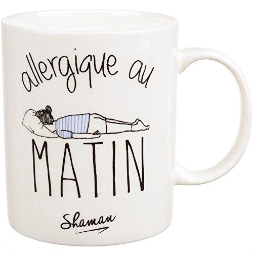 Le Fabuleux Shaman 36-2X-009 Mug Allergique au matin Blanc Porcelaine D12 x H10 cm