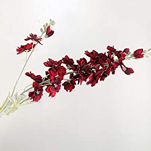 Artificial and Dried Flower Delphinium Flower Branch Flores Silk Artificial Flowers for Home Wedding Decoration Fleur Artificielle – ( Color: Wine Red )