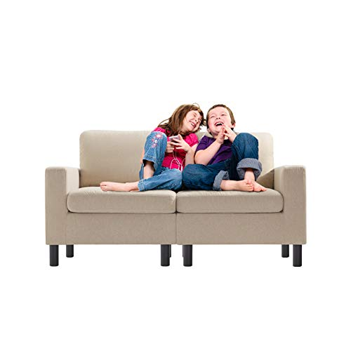 Pretzi 54 inch Kids Sofa Linen Fabric 2-Seater Mini Loveseat Sofa Upholstered Teen Couch Big Kids Edition Perfect for Children Gift Kids Room Playroom Children Furniture Small Space (Beige)