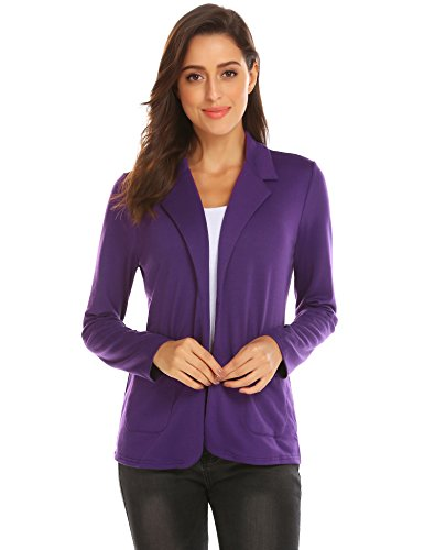 Zeagoo Womens Casual Work Office Blazer Open Front Long Sleeve Cardigan Jacket (Purple, S)