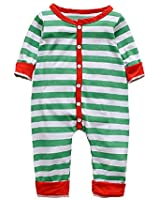 Noubeau 0-3T Infant Baby Striped Christmas Pajamas Toddler Button Down Long Sleeve Long Pants Romper with Pocket (Blue, 2-3T)