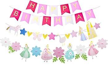 Princess Birthday Decoration Princess Birthday Banner Happy Birthday Banner Birthday Party Decorations Princess Flower Shape Birthday Party Banner Princess Theme Birthday Party Decorations