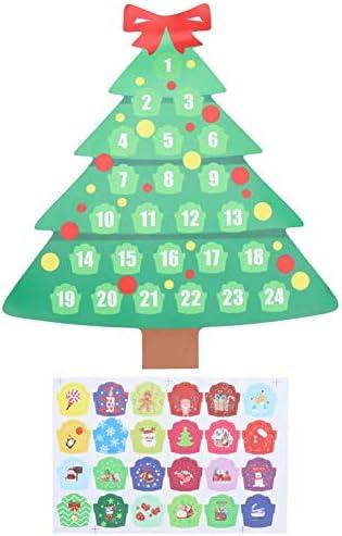 EXCEART Een Set Kerstboom Adventskalender Koelkast Magneet Xmas Adventskalender Boom Voor Vakantie Kerst Muur Deur Opknoping Decoraties