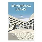 Vintage-Reise-Poster Birmingham-Bibliothek auf Leinwand,