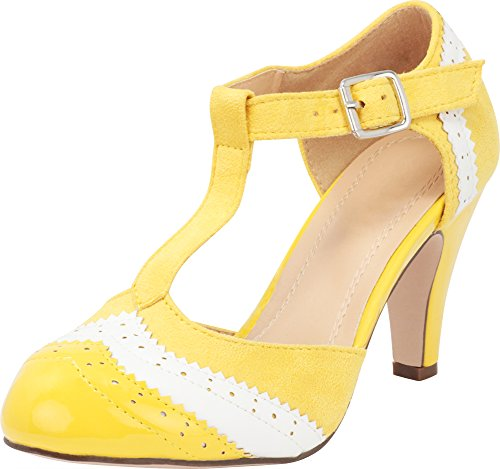 Cambridge Select Women's Closed Round Toe T-Strap Vintage Inspired Wingtip Tapered Heel Pump,7.5 M US,Yellow/White
