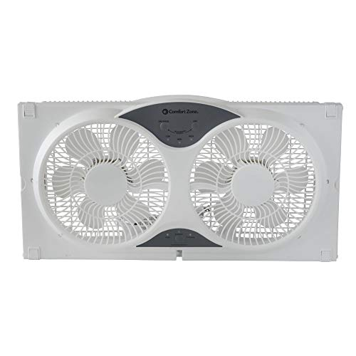 CCC Comfort Zone Twin Window Fan with Remote   3 Speed, High Velocity, Dual Blade Fans