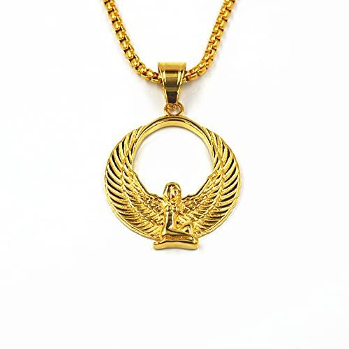 TUDUDU Collares con Colgante de Diosa egipcia, Cadenas de alas de Color Dorado, Babero Ankh, joyería, religión egipcia, Longitud 60Cm