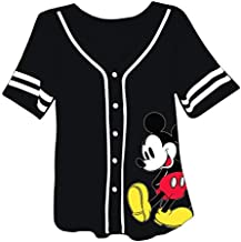Disney Ladies Mickey Mouse Fashion Shirt - Ladies Classic Mickey Mouse Clothing Mickey Mouse Baseball Jersey Tee (Black Baseball, Medium)