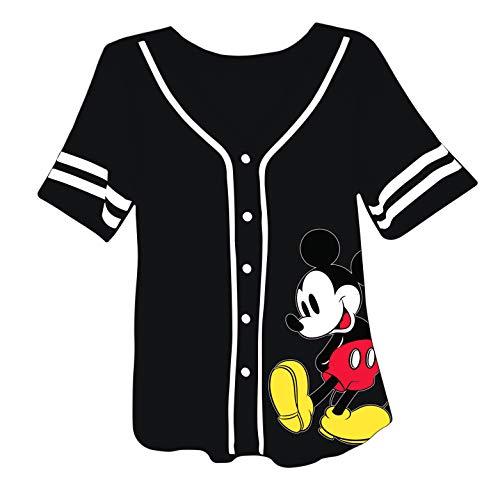 Disney Ladies Mickey Mouse Fashion Shirt - Ladies Classic Mickey Mouse Clothing Mickey Mouse Baseball Jersey Tee (Black Baseball, X-Large)