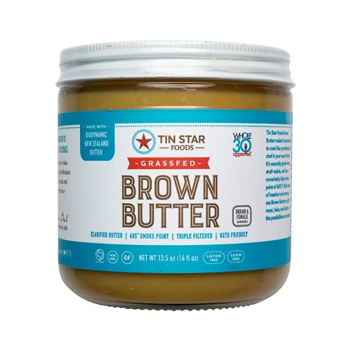 Tin Star Foods Grassfed Biodynamic Brown Butter –365 Pasture Grazed, Hand Crafted Clarified Butter – Keto, Whole 30 and 21 Day Detox Approved, Lactose Free, Casein Free – 13.5 oz.