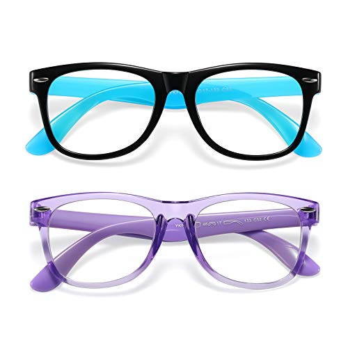 Kids Blue Light Blocking Glasses Girls Boys 2 Pack, Computer Video Gaming Glasses for Kids Girls Boys Age 3-10,Anti Blue Light & Headache (Black Blue + Transparent Purple)