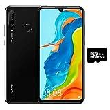 Huawei P30 Lite (128GB, 4GB RAM) 6.15' Display, Triple Camera, 32MP Selfie, Dual SIM GSM Factory Unlocked MAR-LX3A - US & Global 4G LTE International Version (Midnight Black, 128GB + 64GB SD Bundle)