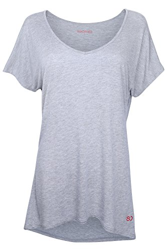 Sundried Womens Loose Fit Yoga Gym Training T-Shirt Relaxed Fit Ultra Soft - Grey - L