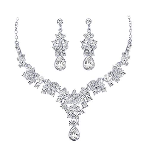 Necklaces & Pendants for WomenNEW Luxury Wedding Bridal Party Crystal Rhinestone Necklace Earrings Jewelry SetJewelry & Watches Christmas for Faclot