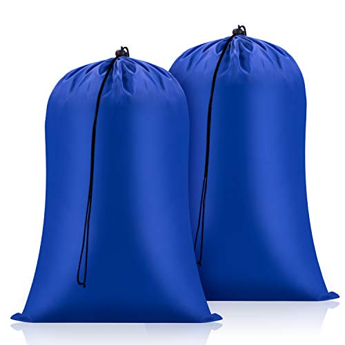 FreDorm Extra Large Laundry Bags 28 x 48 inch 2 Pack Heavy Duty XL Camp Organizer Bag Travel Dirty Clothes Storage Drawstring Closure College Dorm Tear Resistant Big Hamper Liner Blue