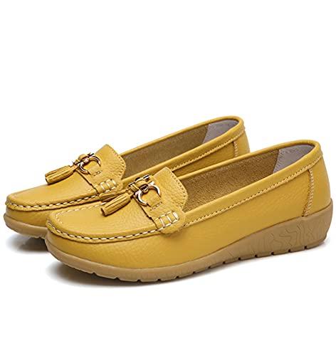 SHADIOA Mocasines Transpirables Planos de Cuero para Mujer, Zapatos de Barco para Mujer, Zapatos Casuales para Mujer,B,37