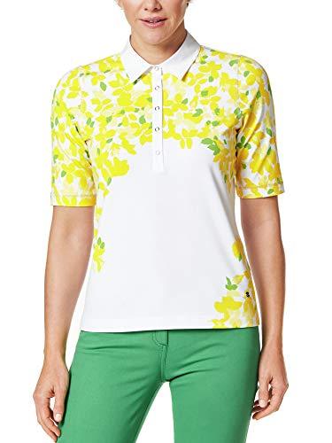 Walbusch Damen Poloshirt Blütenregen Gemustert Weiß/Gelb 36