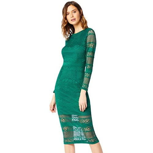 Marchio Amazon - TRUTH & FABLE Tubino Midi in Pizzo Donna, Verde (Green), 46, Label: L