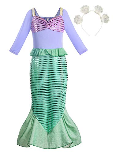 ReliBeauty Mädchen Pailletten kleine Meerjungfrau Kostüm, 128-134