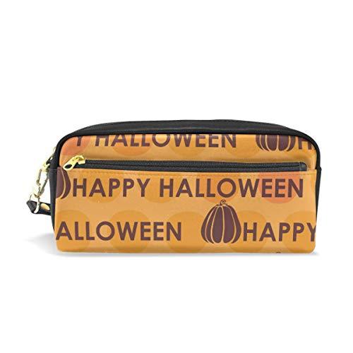 Pencil Case,Orange Kürbis Happy Halloween Word Pu Leder Federmäppchen Tasche, Make-Up Pinsel Taschen Für Erwachsene Teenager Kinder Drucken