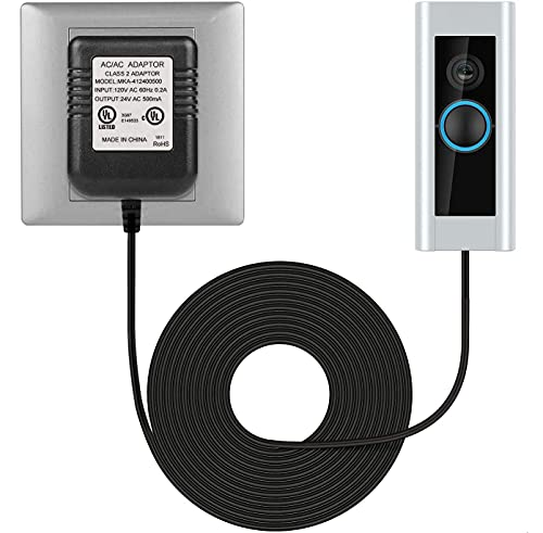 Doorbell Power Supply Adapter 26ft/8m, Transformer for Ring Doorbell Pro,Ring Doorbell, C - Wire Thermostat Adapter, Ring Video Doorbell 2, Nest Hello, Long Cable Power Adapter (24V AC/ 500mA)