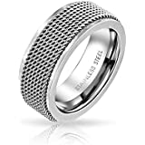 Bling Jewelry Mens Rope Chain Mail Mesh Cable Wedding Band Ring for Men for Women Silver Tone Stainless Steel 8MM
