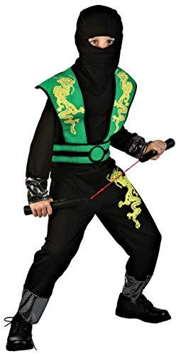 Magicoo Dragon Ninja Kostüm für Kinder Jungen Gr 110 bis 140 Schwarz/Grün - Fasching Ninja-Kostüm für Kind (134/140)