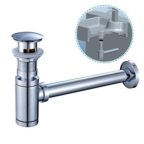 Auralum Siphon Ablaufgarnitur Set mit Überlauf Stöpsel, Edelstahl Abfluss Ventil passt Waschbecken Waschtisch Ablauf fürs Bad, Chrom