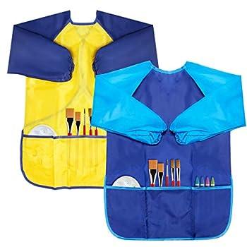 Chanaco 2 Pack Kids Art Smocks Children Art Smocks Waterproof Artist Painting Aprons Long Sleeve with 3 Pockets 2 Pack  Blue & Yellow