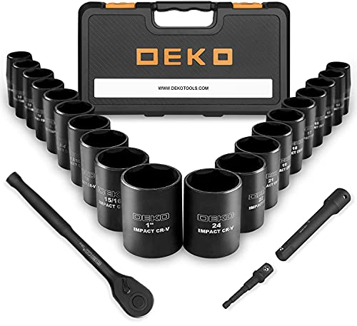 DEKOPRO 1/2-Inch Impact Socket Sets, 23 Pieces Drive Socket Set Mechanic Tool Set with 72 Teeth Reversible Ratchet, 1/2