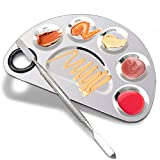 Makeup Palette Stainless Steel Cosmetic Palette 6-well with Spatula Tool for Nail Art Eye Shadow Mixing Foundation Painting Artist Mixing Metal Palette 6x4inch
