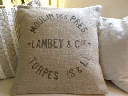 Ethelt5IV - Funda de cojín de arpillera, imitación de saco de trigo francés, 45 x 45cm