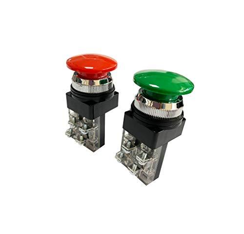 きのこ型 押しボタンスイッチ 2点セット (赤 / 緑) 取付穴径30mm モーメンタリ 押釦 電源スイッチ 交換 修理 AC 250V 6A