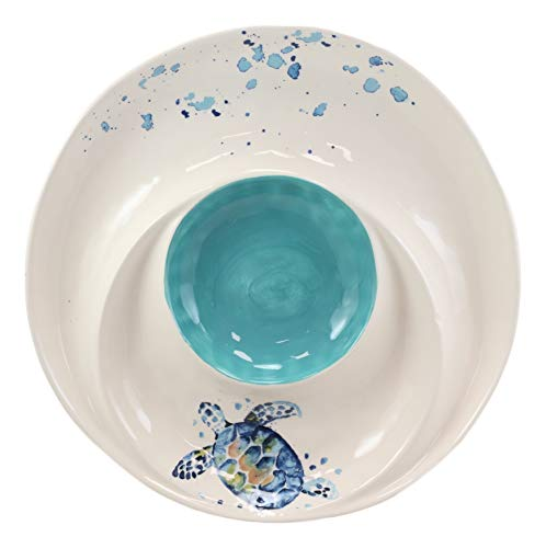 Ebros Nautical Marine Coastal Blue And White Sea Turtle Ceramic Dinnerware For Beach Party Hosting Kitchen And Dining Earthenware Serveware (Chips And Salsa Family Serving Platter Plate, 1)