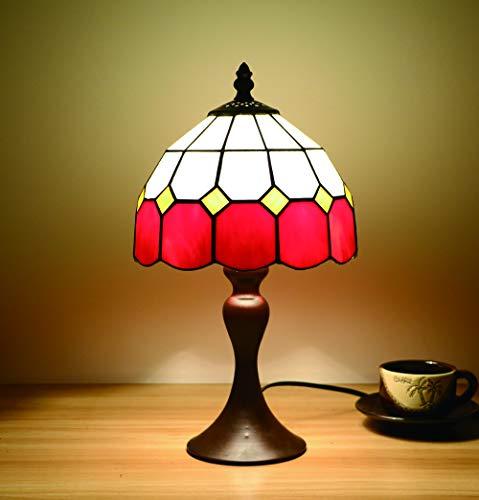 Tokira Vintage Tiffany Lampada Da Tavolo Rosso 8 Pollici, Mediterraneo Stile Vetro Colorato Paralume, Lampada Da Scrivania Tonalità Stile Semplice